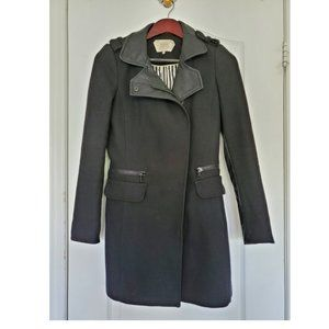 Zara Black Faux Leather Accent Combination Coat